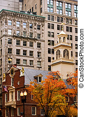 Boston Freedom Trail - Old State house in fall colors, ...