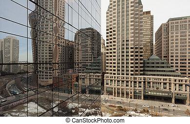 boston, gratte-ciel, reflet