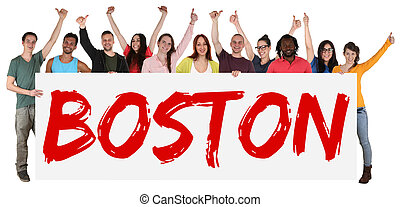 Boston group of young multi ethnic people holding banner