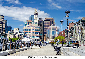 Boston Harbor and Skyline, USA