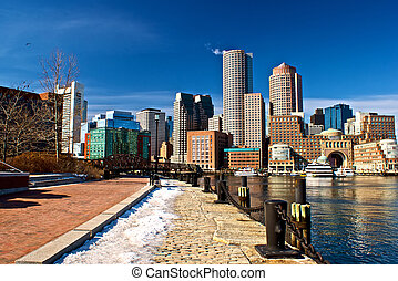 Boston harbor - view of boston harbor and rowes wharf and ...