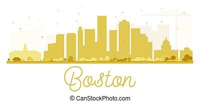 boston, horizon, doré, ville, silhouette.