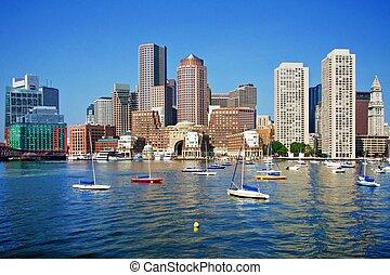 boston, horizon, jour, magnifique