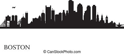 boston, horizonte cidade, silueta, fundo