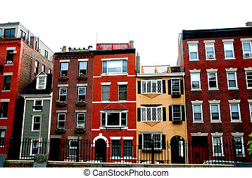 Boston houses - Row of brick houses in Boston historical...