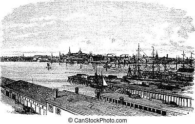 Boston, in Massachusetts, USA, during the 1890s, vintage engraving