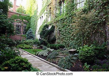 boston, lussureggiante, giardino