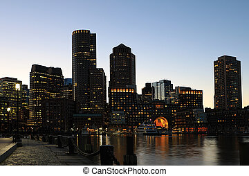 Boston, Massachusetts  city center at dusk