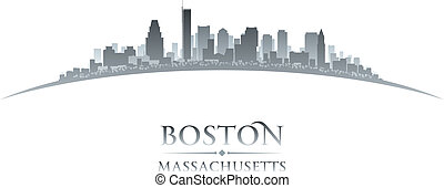 Boston Massachusetts city skyline silhouette white...