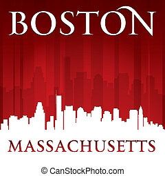 Boston Massachusetts city skyline silhouette red background