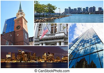 Boston Massachusetts famous landmarks picture collage - USA