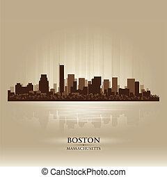boston, massachusetts, horizon, ville, silhouette