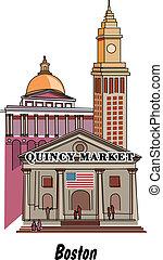 Boston Massachusetts including Quincy Market.