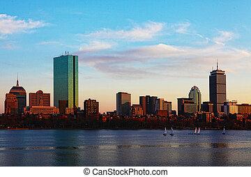 boston, massachusetts, orizzonte, a, crepuscolo