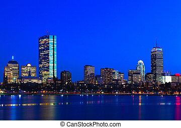 boston, massachusetts, orizzonte, notte