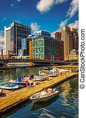 boston, massachusetts., point, bateaux, docks, fort, canal
