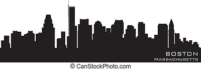boston, massachusetts, skyline., detallado, vector, silueta