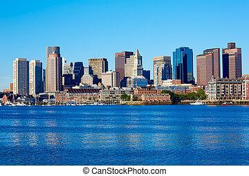 Boston Massachusetts skyline from Harbor