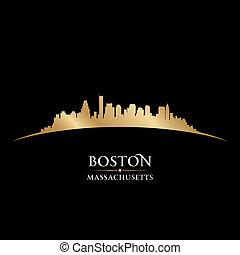 boston, massachusetts, stad skyline, silhouette, zwarte...