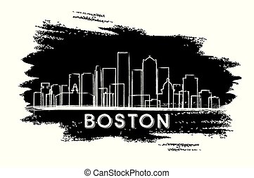 Boston Massachusetts USA City Skyline Silhouette.