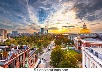 Boston, Massachusetts, USA cityscape with the State House