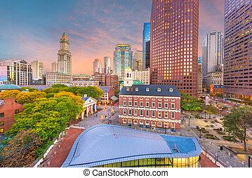 Boston, Massachusetts, USA downtown markets and cityscape