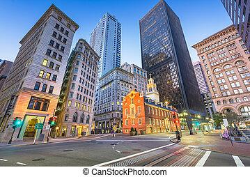 Boston, Massachusetts, USA Old State House and cityscape.
