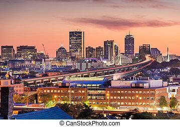 Boston, Massachusetts, USA Skyline at Dusk