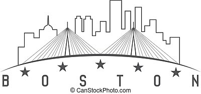 Boston Massachusetts USA skyline vector design illustration