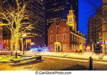 Boston old state house at night