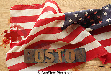 Boston on a bloodied American flag