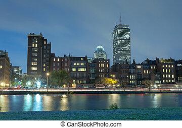 boston, palangana, río charles, noche