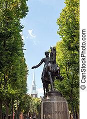 boston, paul reverencia, estatua