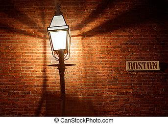 boston, pavé, balise, rue, colline, gland