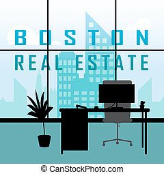 Boston Property Apartment Shows Real Estate In Massachusetts Usa 3d Illustration