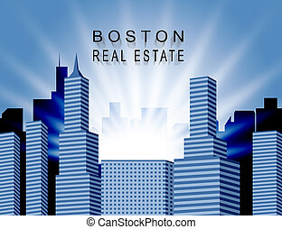 Boston Property City Shows Real Estate In Massachusetts Usa 3d Illustration