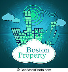 Boston Property City Shows Real Estate In Massachusetts Usa 3d Illustration
