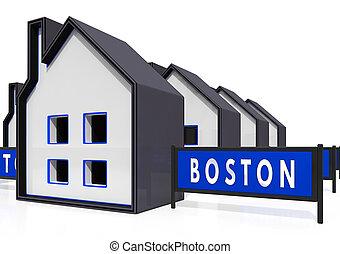 Boston Property Icon Shows Real Estate In Massachusetts Usa 3d Illustration