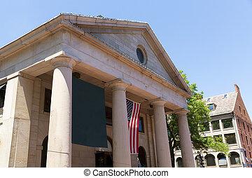 Boston Quincy Market facade in Massachusetts USA