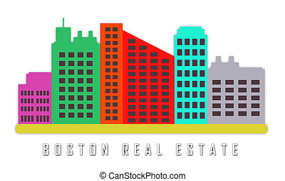 Boston Real Estate Apartments Represent Property In Massachusetts 3d Illustration