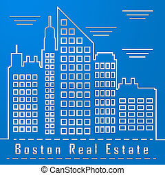 Boston Real Estate City Represents Property In Massachusetts 3d Illustration