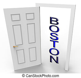 Boston Real Estate Doorway Represents Property In Massachusetts 3d Illustration