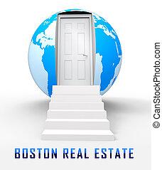 Boston Real Estate Globe Represents Property In Massachusetts 3d Illustration