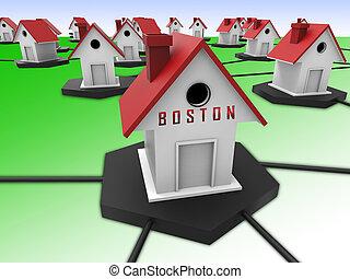 Boston Real Estate Houses Represent Property In Massachusetts 3d Illustration