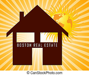Boston Real Estate Icon Represents Property In Massachusetts 3d Illustration