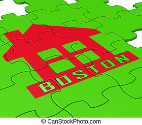 Boston Real Estate Jigsaw Represents Property In Massachusetts 3d Illustration