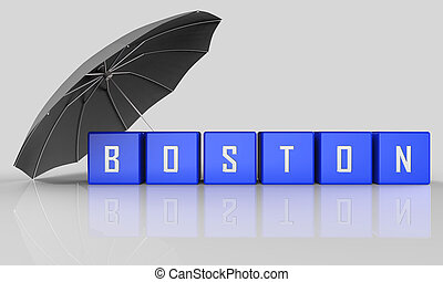 Boston Real Estate Word Represents Property In Massachusetts 3d Illustration