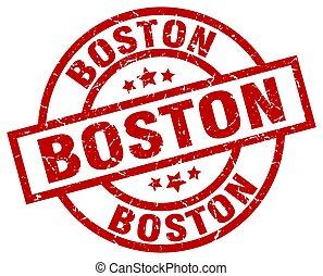 Boston red round grunge stamp