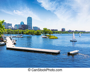 Boston sailboats Charles River at The Esplanade - Boston...