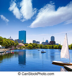 Boston sailboats Charles River at The Esplanade